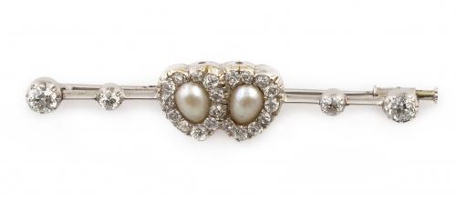Broche victoriano s.XIX con dos corazones unidos de brillan