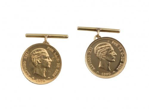 Gemelos realizados con monedas de 10 ptas de oro de Alfonso