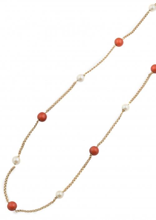 Collar largo con cuentas de coral de 8,5 mm y perlas de 7 m