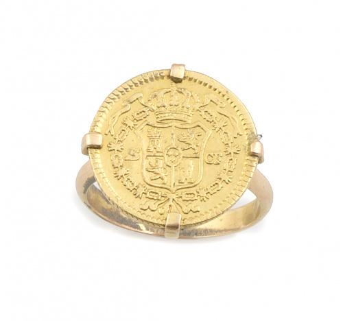 Sortija realizada con moneda de oro de Carlos III en montur