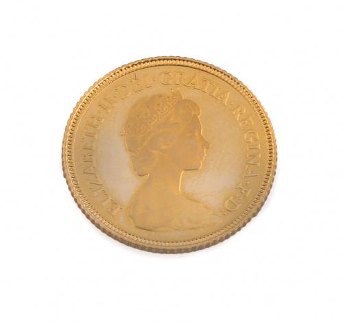 Moneda proof de medio soberano de Isabel II 1980 en oro de