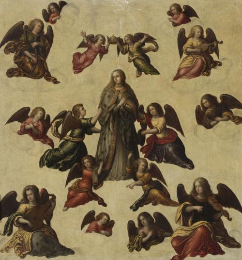 ESCUELA ESPAÑOLA, h. 1600Coronación de la Virgen con ángel