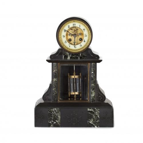 Reloj regulador Napoleón III en mármol negro y verde con so