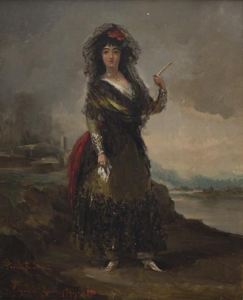 EUGENIO LUCAS VILLAAMIL (Madrid, 1858-1919)Dama con mantil