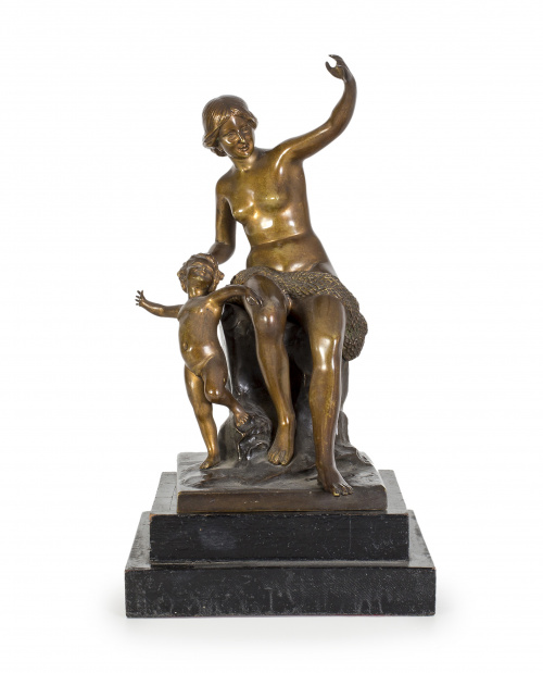 "Helmut Schievelkamp (Alemania, 1849-1890) ""Mujer con niño"""