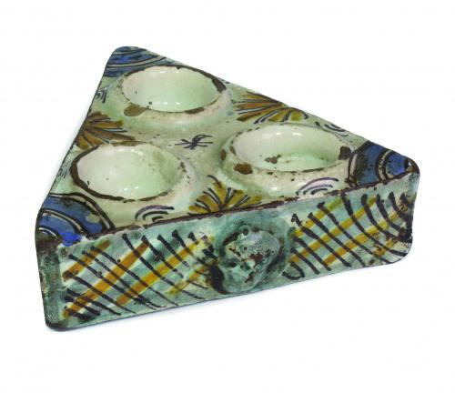 Especiero de cerámica esmaltada de la serie tricolor.Talav