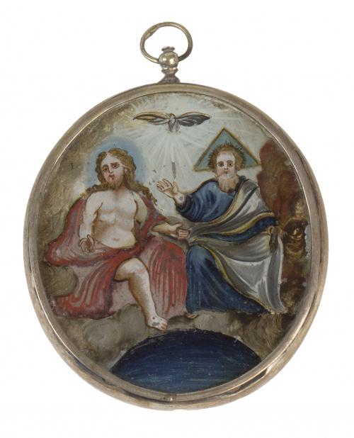 Medalla devocional, pintada bajo cristal La Trinidad y la D