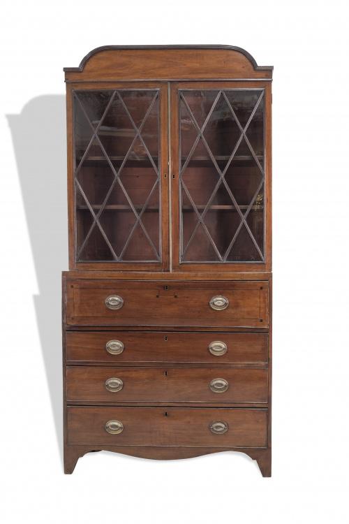 Bookcase Jorge III de madera de caoba. Trabajo inglés, S.
