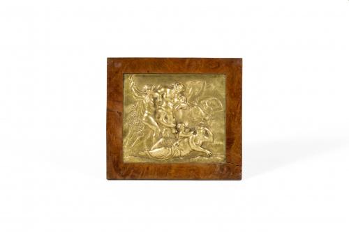 Bacanal y Ariadna, cobre repujado, cincelado y dorado al me