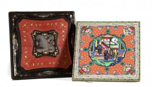 Caja para mantón en madera lacada y dorada con escenas en c