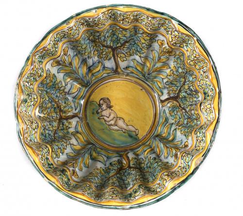 Cuenco de cerámica esmaltada de la serie policroma, con árb