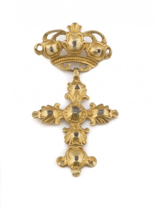 Colgante de dos cuerpos s XVIII con corona y cruz de diaman
