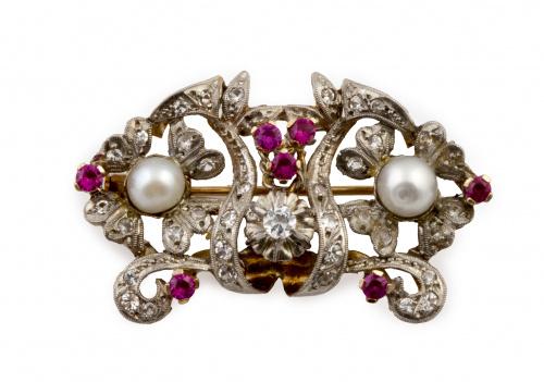 Broche años 30 con perlas, zafiros blancos y rubíes sintéti