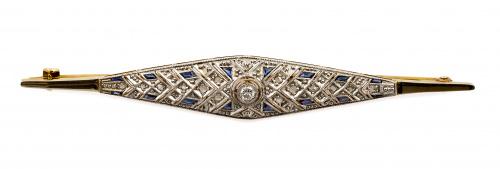 Broche Art-Decó en forma de rombo estilizado con diamantes,