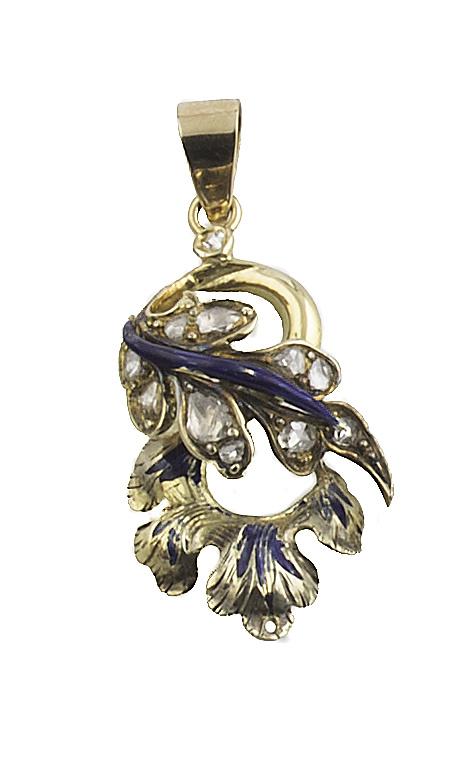 Colgante S. XIX con hojas de diamantes y esmalte azul