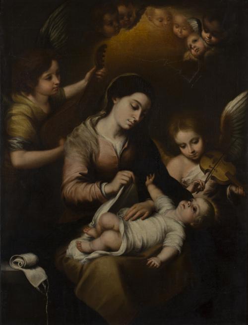 COPIA DE MURILLO (Escuela española, h. 1700)Virgen de la f