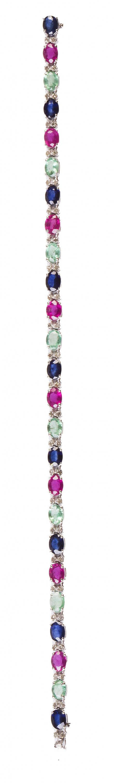 Pulsera de zafiros, esmeraldas y rubíes, alternos con parej