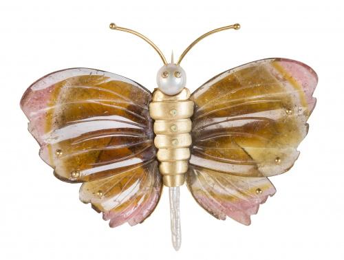 Broche portugués firmado GIL SOUSA en forma de mariposa con