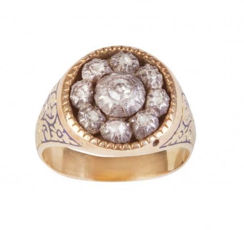 Sortija rosetón portuguesa S. XIX de diamantes, con montura