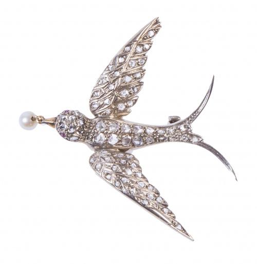 Broche en forma de golondrina de diamantes de pp. S XX, con