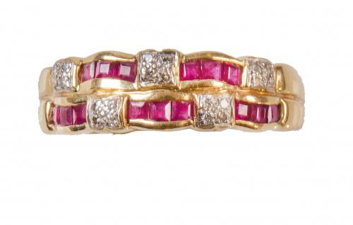 Sortija con dos bandas con decoración rubíes calibrados alt