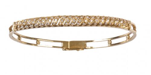 Conjunto de collar y pulsera rígida con brillantes en línea