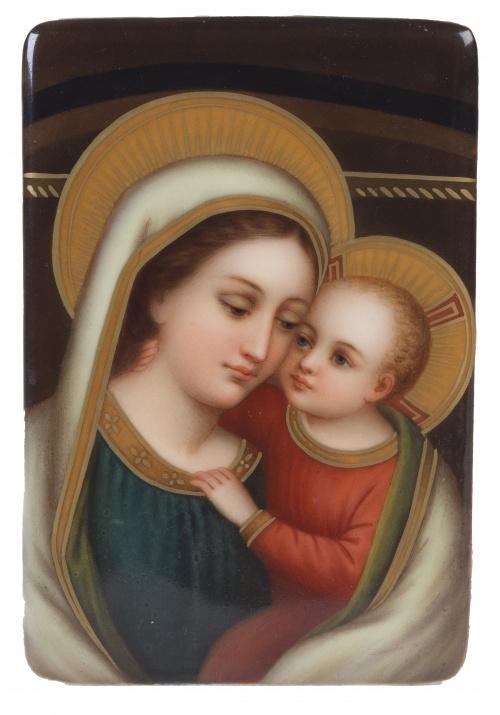"""""""Virgen con el niño"""", placa de porcelana esmaltada, ffs. de"""