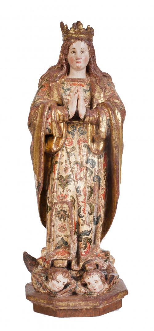Virgen Orante Coronada.En madera tallada, policromada y d