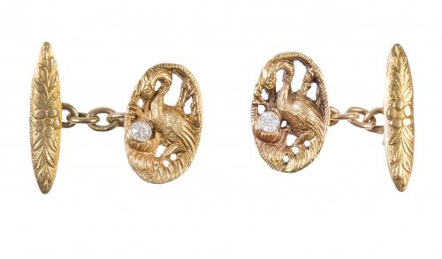 Gemelos ovales Art Nouveau con diseño de garzas con brillan