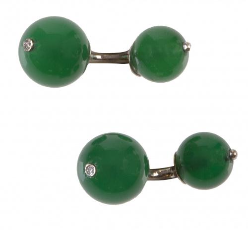 Gemelos dobles de esferas de ágata verde, con un brillante
