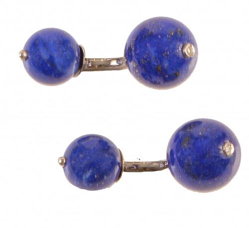 Gemelos dobles de esferas de lapislázuli, con un brillante