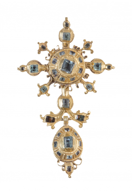 Cruz colgante popular de esmeraldas  S. XVIII-XIX con peril