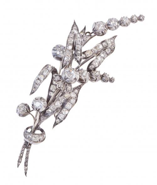 Broche rama de brillantes de talla antigua c.1880, engastad