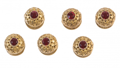 Conjunto de seis botones circulares de pp. S. XX semiesféri
