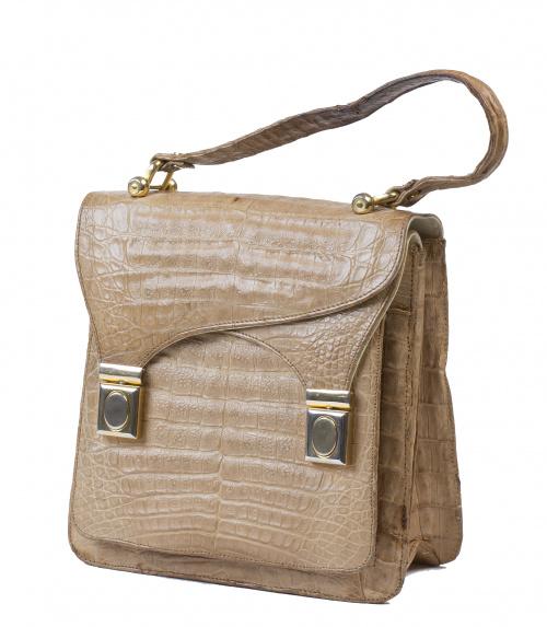 Bolso de mano vintage en piel de cocodrilo color crema con