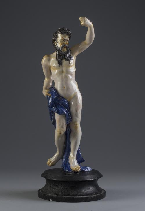 JúpiterFigura masculina en porcelana esmaltada, a la mane