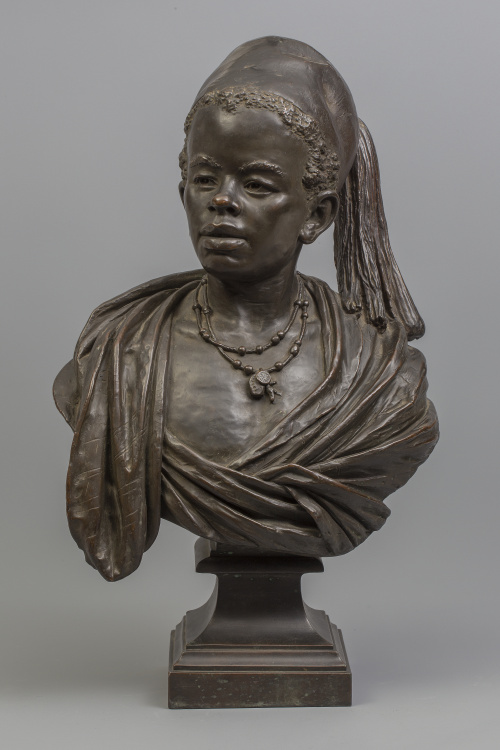 Busto orientalista de niño simulando bronce, S. XIX