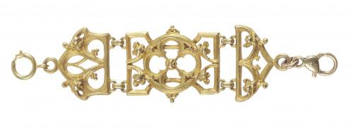 Leontina corta francesa de pp. S. XX con piezas articuladas