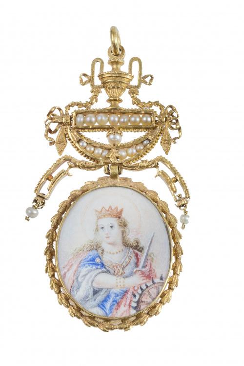 Colgante Imperio pp. S. XIX con miniaturas de Santa Catalin
