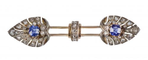 Broche barra Art-Decó con zafiros y diamantes