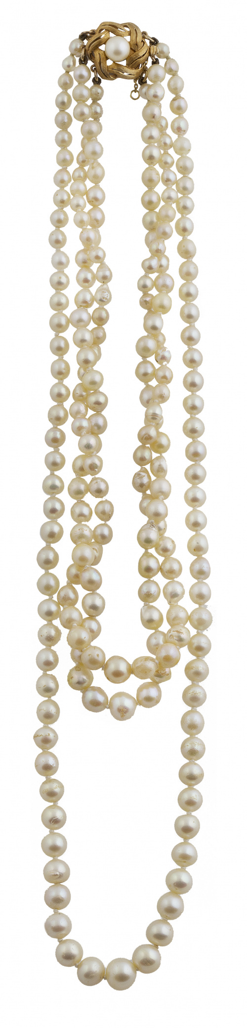 Collar de tres hilos de perlas cultivadas de tamaño crecien
