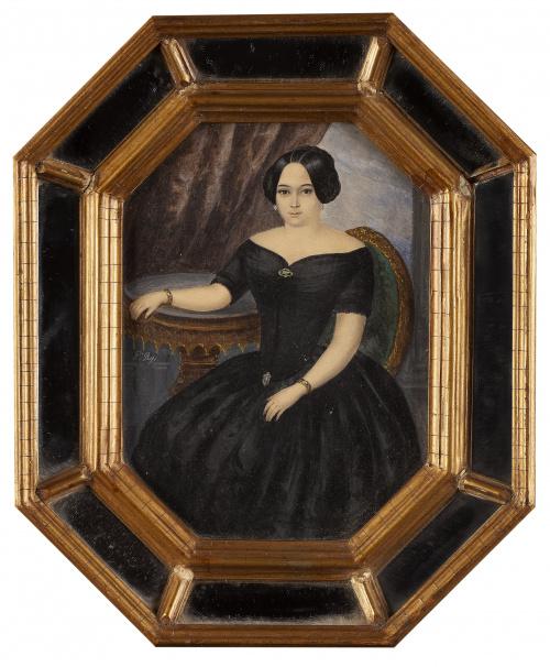 FRANCISCO ROJO MELLADO (Málaga,1817-1890)Retrato de dama