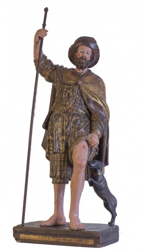 San Roque en madera tallada, dorada y policromada.Trabajo