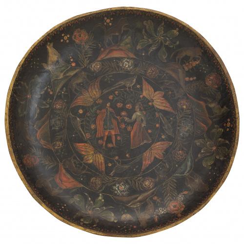 """Batea, soporte de madera en laca o """"maque"""", decorada con ve"""
