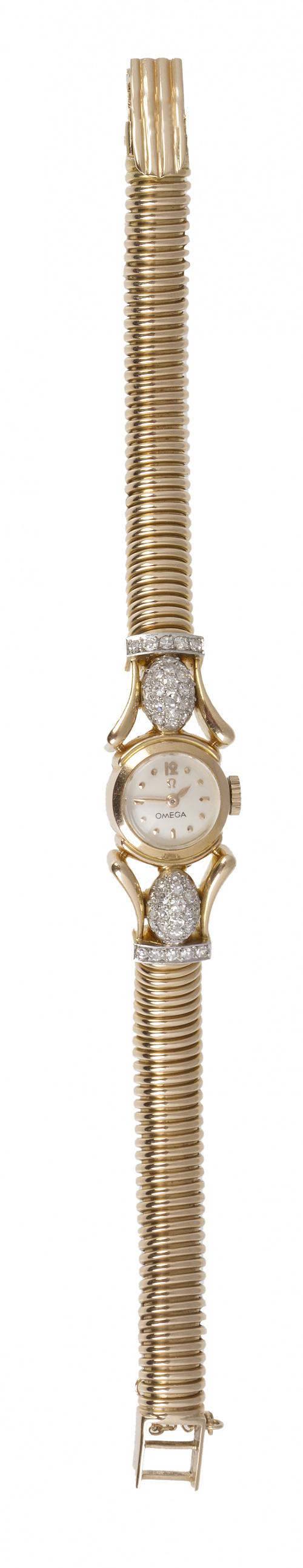 Reloj OMEGA años 40 con pulsera tubo de gas y brillantes en