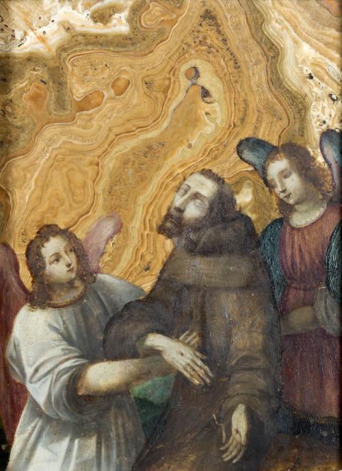 ESCUELA ESPAÑOLA SIGLO XVIISan Francisco asistido por dos