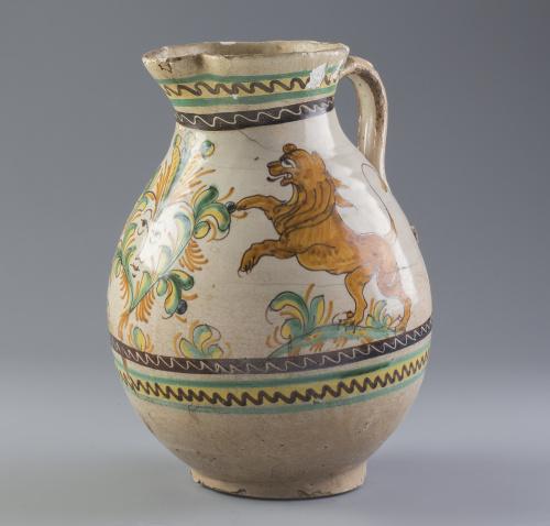 Jarro de cerámica esmaltada.Puente del Arzobispo, S. XIX