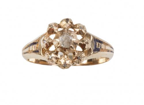 Sortija de ff. S. XIX en forma de rosetón con diamante cent