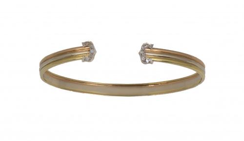 Pulsera rígida abierta tipo Cartier en oro tricolor con rem