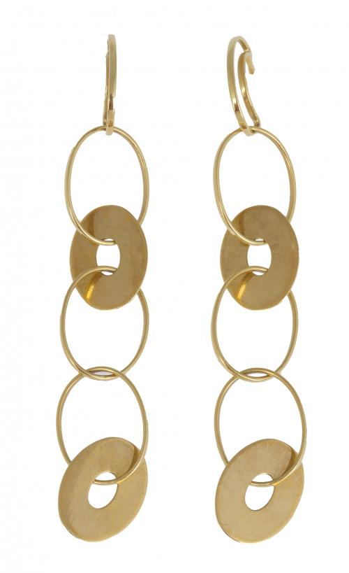 Pendientes largos de aros ovales de hilo de oro, entrelazad